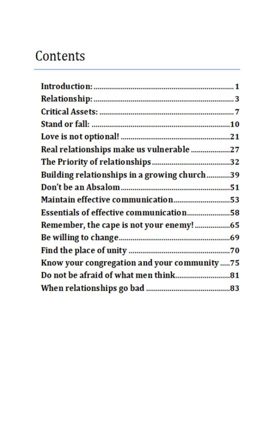The Power in Relationship TOC